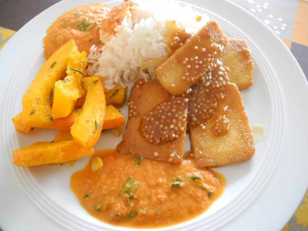 Kürbis-Tofu-Reis